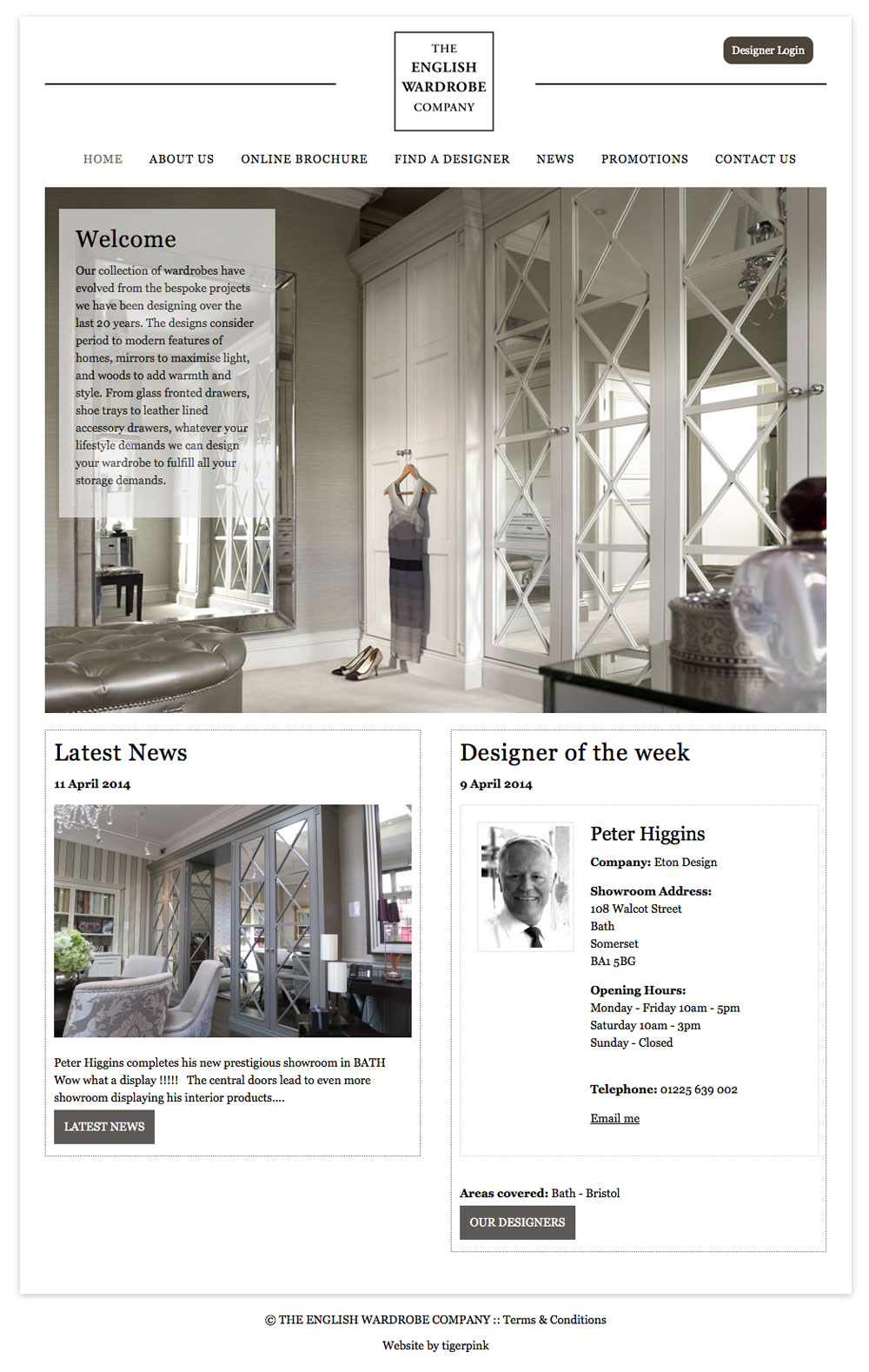 Tigerpink website design - The English Wardrobe Company