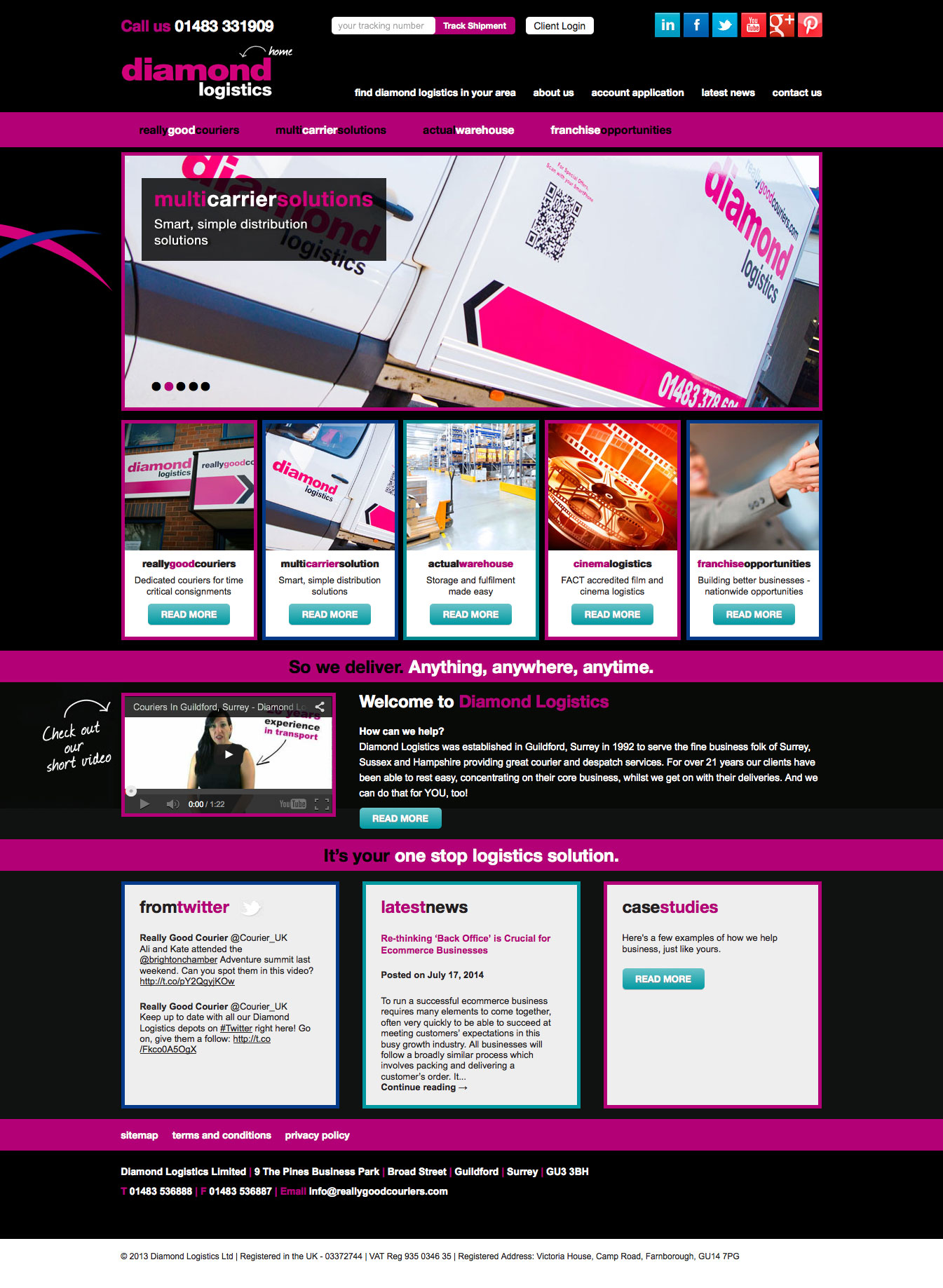 Tigerpink Website Design - Diamond Logistics